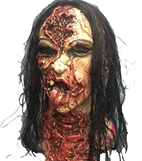 LUHUAISH AU Halloween Masquerade/Latex Bloody Bloody Female Ghost mask Long Hair Horror mask