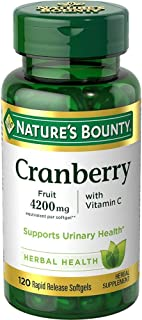 Nature's Bounty Natures Bounty Cranberry Fruit Plus Vitamin C, 4200mg 20 Softgels 120 Count