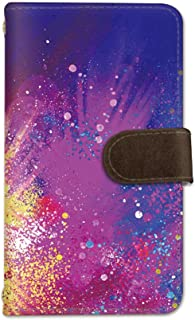 seventwo Galaxy A8 SCV32 スマホケース 手帳型 携帯ケース ミラー付 ギャラクシー エーエイト 【B】 水彩 絵具 other_014