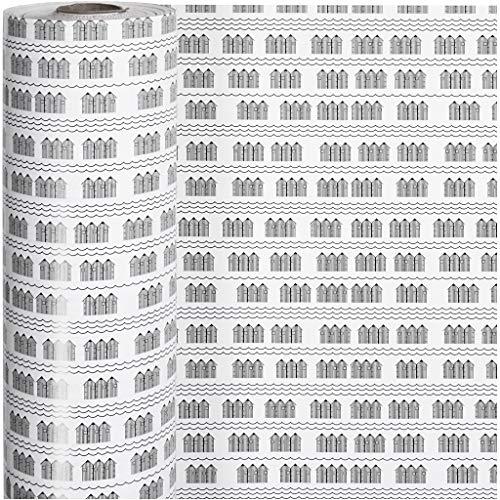 Inpakpapier, b: 57 cm, 80 gr, wit, zwart, badhuis, 150m