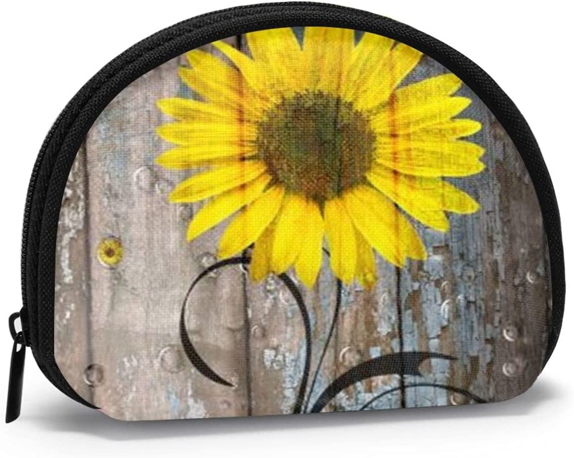 Women Change Coin Purse Rustic Shell Tucson Mall S Max 52% OFF Farmhouse Girl Sunflowers