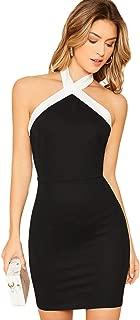 ROMWE Women's Sexy Sleeveless Crisscross Halter Bodycon Wrap Mini Party Dress
