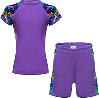 Unisex Kids Rashguard Set Two Piece Swimsuit UPF 50+ UV 4-14 Years