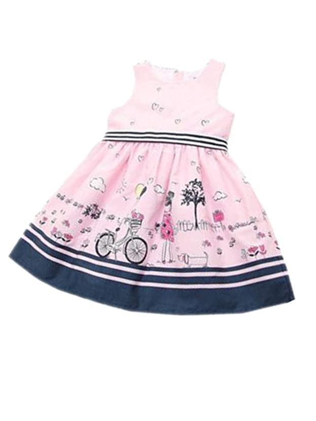 TIFENNY Striped Belt Print Girls Dress Baby Girls Pink Sleeveless Party Princess Pageant Dresses