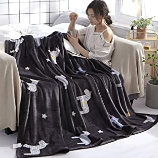 HKJhk Coral Fleece Blanket Quilt Thick Winter Blanket Single Flannel Leisure Nap Blanket Soft Single Piece (Pattern : Horse, Size : 120 * 200cm)