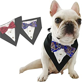 Stock Show Formal Small Medium Dogs Tuxedo Bandana Collar with Elegant Bowtie and Botton Adjustable Neckerchief for Wedding, Party, Costume, Gift and Birthday