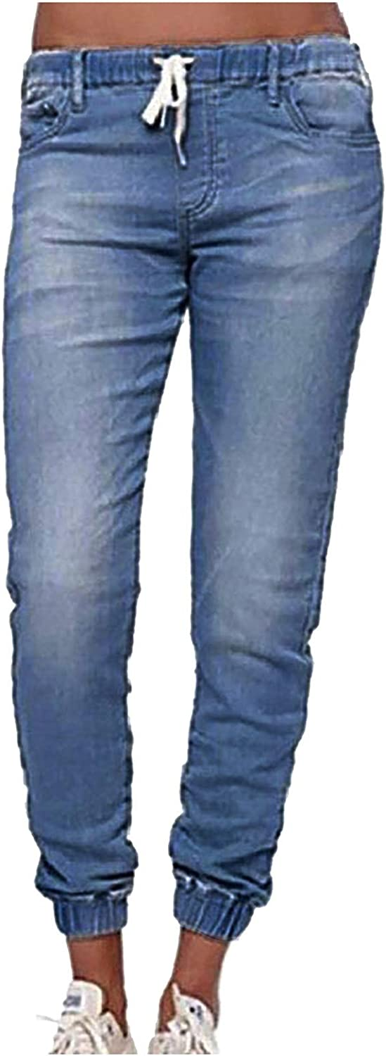 Blue Jeans for Women Ripped Denim Mid Waisted Poket Lace Up Lantern Jeans Pants Denim Casual Trousers
