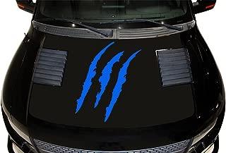 Factory Crafts Torn Hood Graphics Kit 3M Vinyl Decal Wrap Compatible with Ford Raptor 2010-2014 - Matte Black Base & Azure Blue Tears