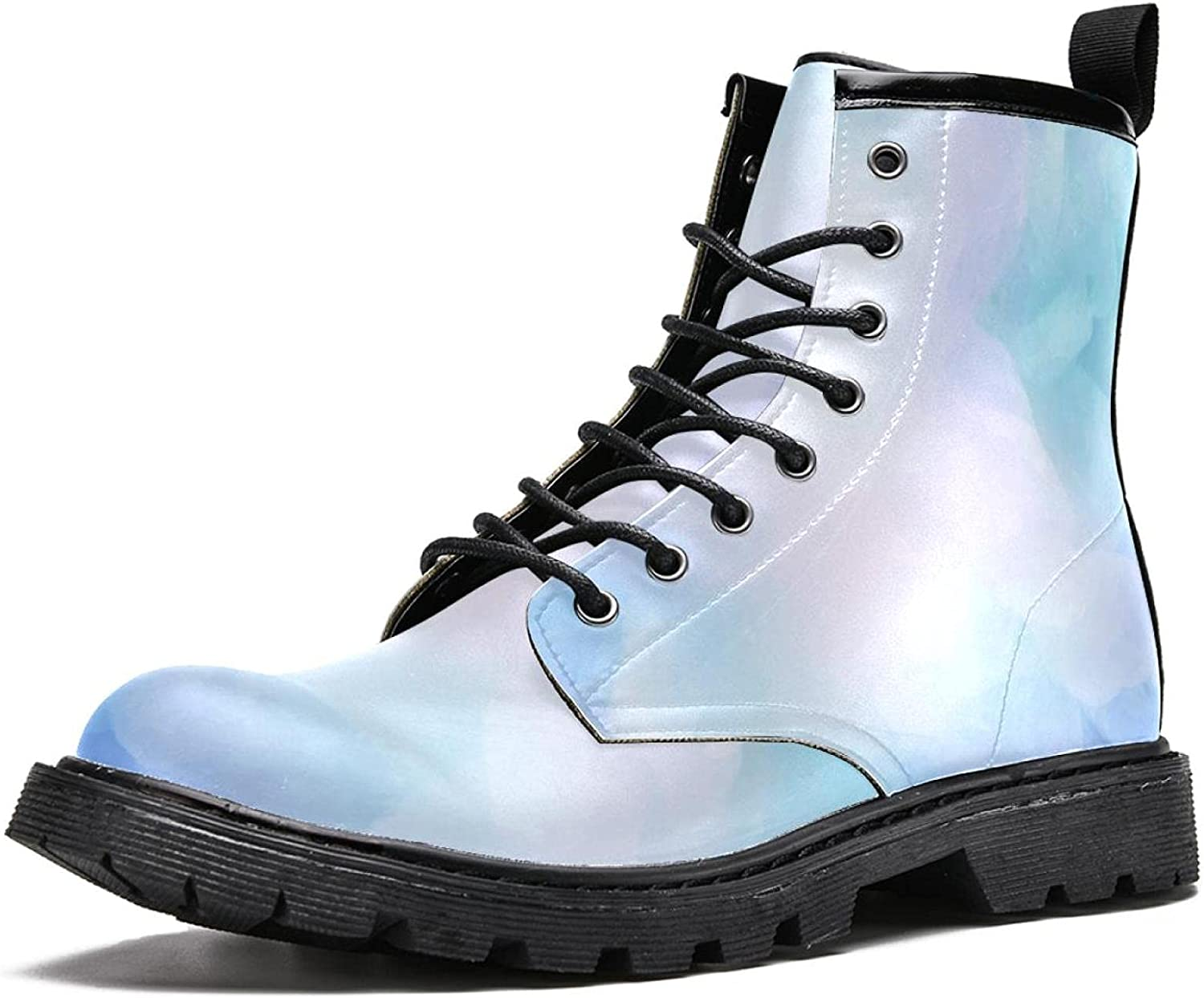Men's Classic Award-winning store 16-Eye PU Leather Vibrant New sales Blue Watercolor Boot