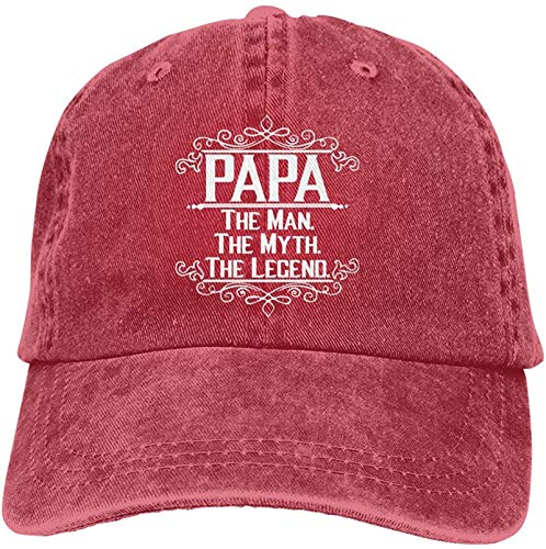 Womens&Mens Unisex Sport Papa The Man The Myth The Legend Caps Adjustable Strapback Red