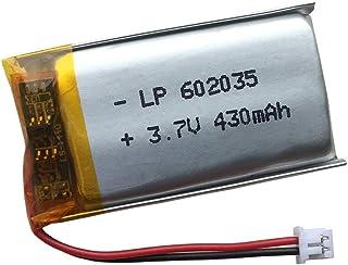 602035バッテリー, 3.7V リチウムポリマー電池 430mAh - JST 2ピンコネクタ PH1.25,にとってドローンRCクアドコプター、ブルートゥースヘッドセット、ミニDVR、Keychinaカムスモールカメラ、Gps、MP3などの