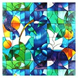 BDF 3DV Window Film Dove Stained Glass (36in X 59 3/4in (2 Continuous Patterns))