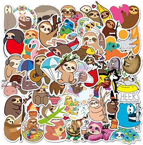 Water Bottle Cute Sloth Stickers 50pcs Lovely Boy and Girl Stickers Laptop Water Bottle Luggage Snowboard Bicycle Skateboard Decal for Kids Teens Waterproof Stickers…
