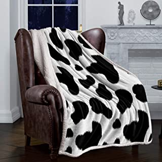 Super Soft Sherpa Fleece Throw Blanket for Sofa Bed Living Room Cow Print Black and White Spots Farm Life with Cattle Camo...