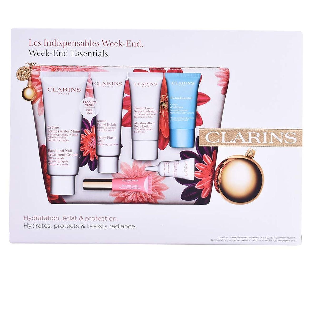 のホスト懲戒硫黄クラランス Week-End Essentials: Hand & Nail Cream+Beauty Flash Balm+Moisture-Rich Body+Eye Contour Gel+Hydra-Essentiel Cream+Lip 6pcs+1bag並行輸入品