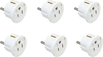Instapark IPA-20-6P Heavy-duty USA/America Type A (2-Pin) & B (3-Pin) to European Type E & F/Schuko Electrical Wall Outlet/Socket Plug Adapter for Travel, 6-Pack (White)