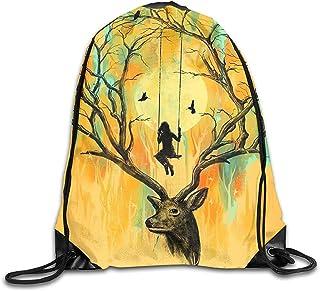 Mochilas con Cordón Playmate Deer Trees Girl Play On A Swing Mochila con Cordón con Cordón Mochila Deportiva Ligera Bolsa De Deporte Bolsas De Zapatillas