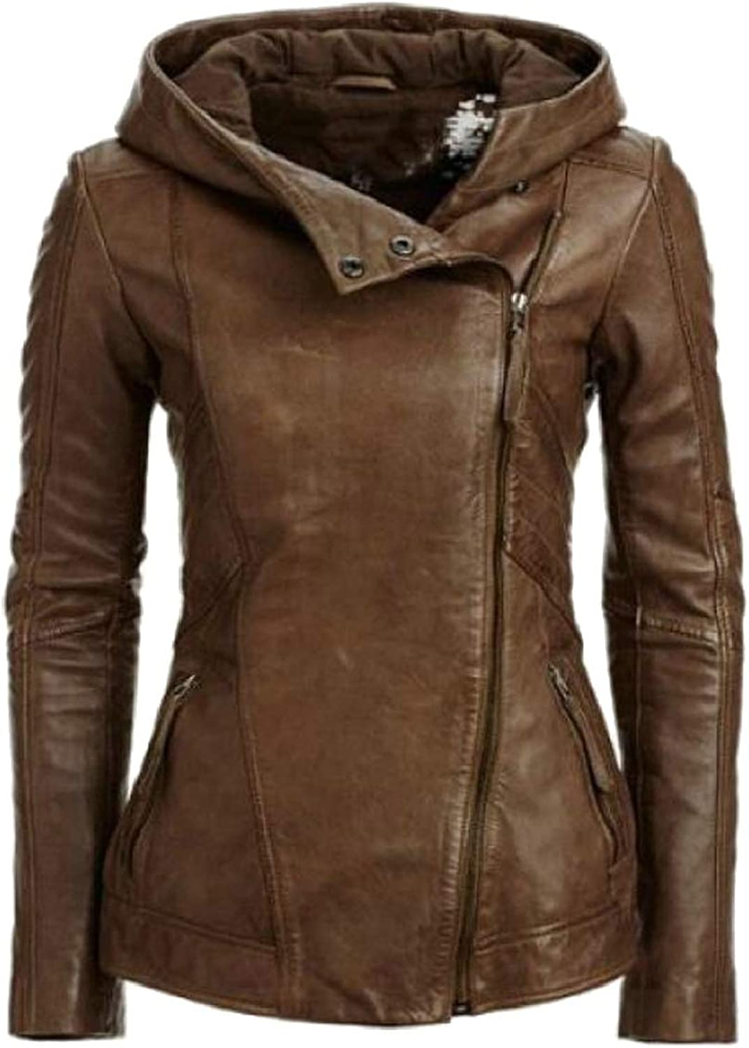 LKCENCA Womens Vintage Faux Leather Front Zipper Motorcycle Jacket Hoodie