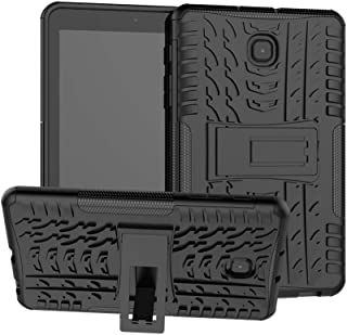 Galaxy Tab A 8.0 2018 Case, Folice [Heavy Duty] [Shockproof] Hybrid Rugged Hard Rubber PC Tough Dual Layer Protective Case Cover with Kickstand for Samsung Galaxy Tab A 8.0 2018(SM-T387) (Black)