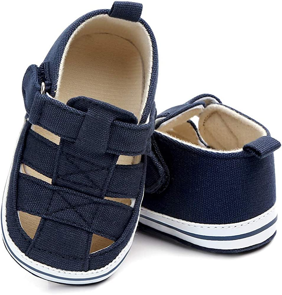 Meckior Summer Baby Popular overseas Infant Boys Sole Popular Sandals Canvas Soft Non-Sli
