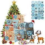 EKKONG Calendario de Adviento, 24 bolsas con 24 pegatinas de números para Navidad, para manualidades y decorar, bolsa de regalo de Navidad, estilo clásico de Navidad