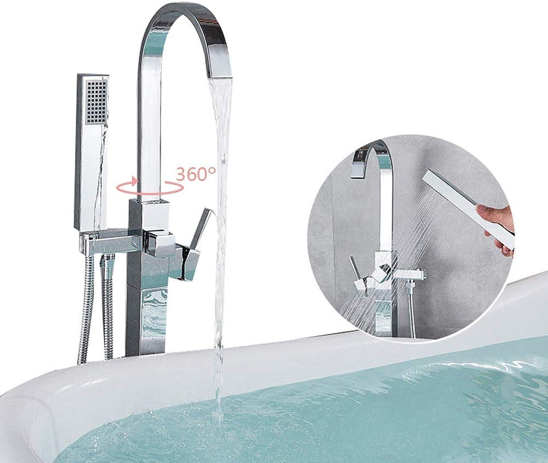 SHHENGSHIYUJIA Bad Duschsysteme Chrom Messing Boden stehend Badewanne Wasserhahn Filler Mischbatterie Handbrause Design Bad Dusche Set 360 Swivel