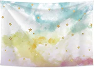 Allenjoy 7x5ft Photography backdrops Watercolor Colorful White Cloud Sky Golden Glitter Stars Birthday Party Banner Photo ...