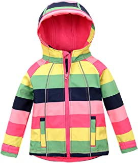 Hiheart Girls Fleece Jackets Striped Outwear Rainbow Hooded Windproof Jacket