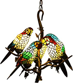 Makenier Antique Vintage Tiffany Style Stained Glass Parrot Bird Shade Chandelier Ceilingt Pendant Light Fixture + Tree Branch Design, Adjustable Chain, Bronze Finish