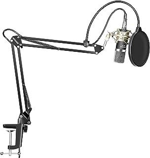 Neewer Micrófono Condensador Kit NW-700 Mic(Negro),NW-35 Soporte Brazo Boom Tijera Suspensión con Abrazadera Montaje,Montu...