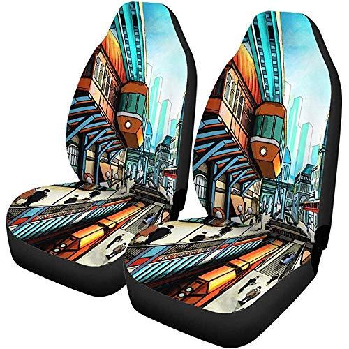 Preisvergleich Produktbild TABUE 2PCS Autositzbezüge City Street im Retro Futurism Suspension Railway Seats Protector Passt für Auto,  SUV Limousine,  LKW