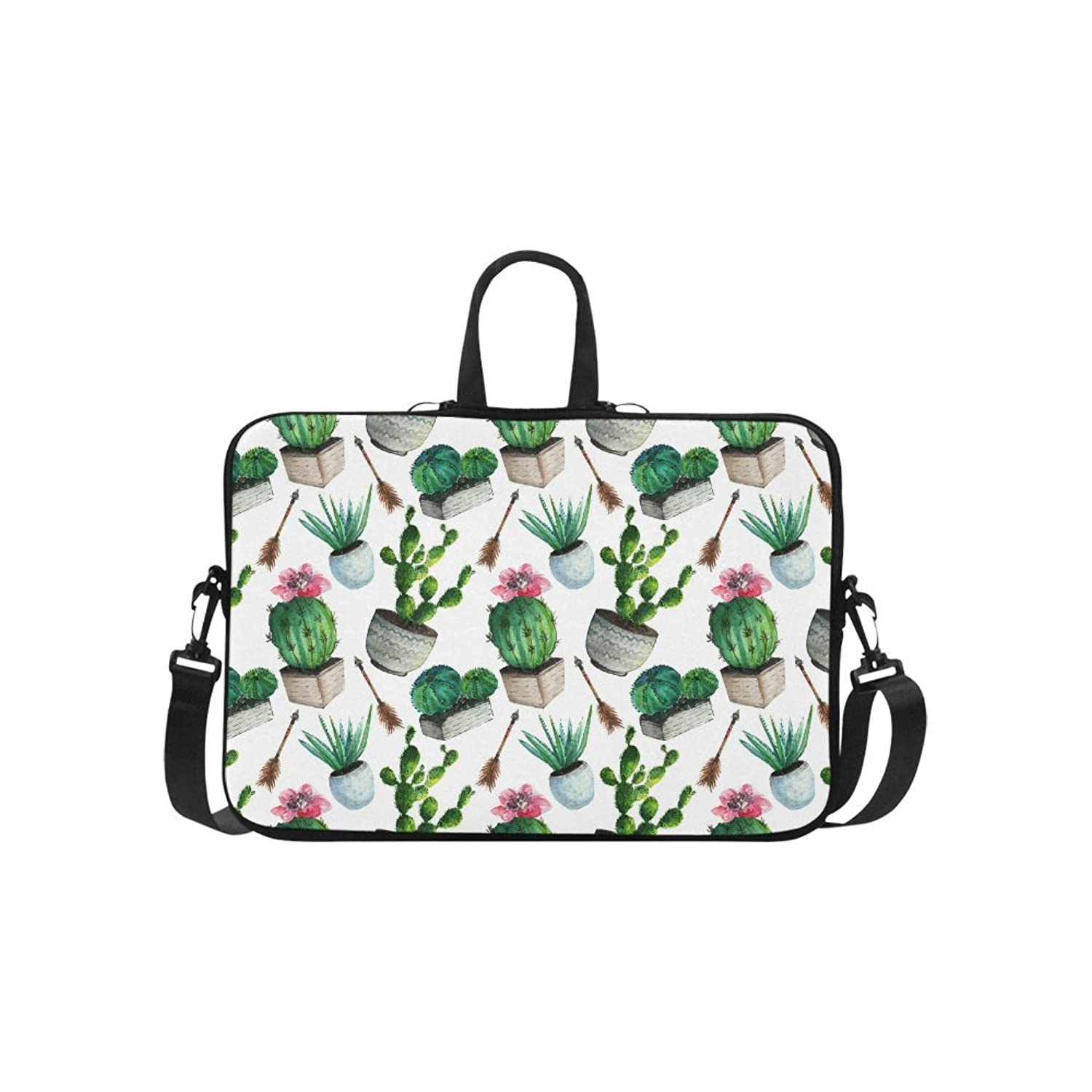 InterestPrint Watercolor Cactus Succulent and Arrow in Boho Style 15 15.6 Inch Notebook Computer Sleeve Shoulder Bag Neoprene Protective Case with Handle & Strap for MacBook Dell HP Woman Man