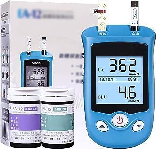 Dytxe-shelf Medidor De Azúcar En Sangre 2 En 1 Multifuncional para El Hogar Glucosa En Sangre, Monitor De Ácido Úrico con 50 Ácido Úrico + 50 Medidor De Glucosa En Sangre