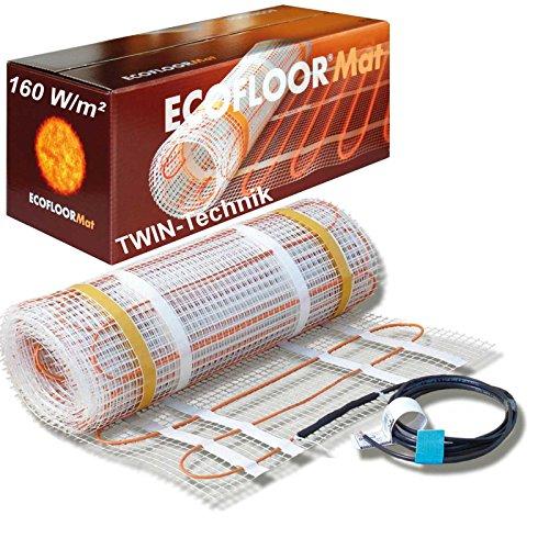 ECOFLOOR® Fußbodenheizung elektrisch 160 Watt/m² Größe wählbar 1- 12m² Fußboden-Heizmatte Twin (3.5 m² = 7 m Länge)