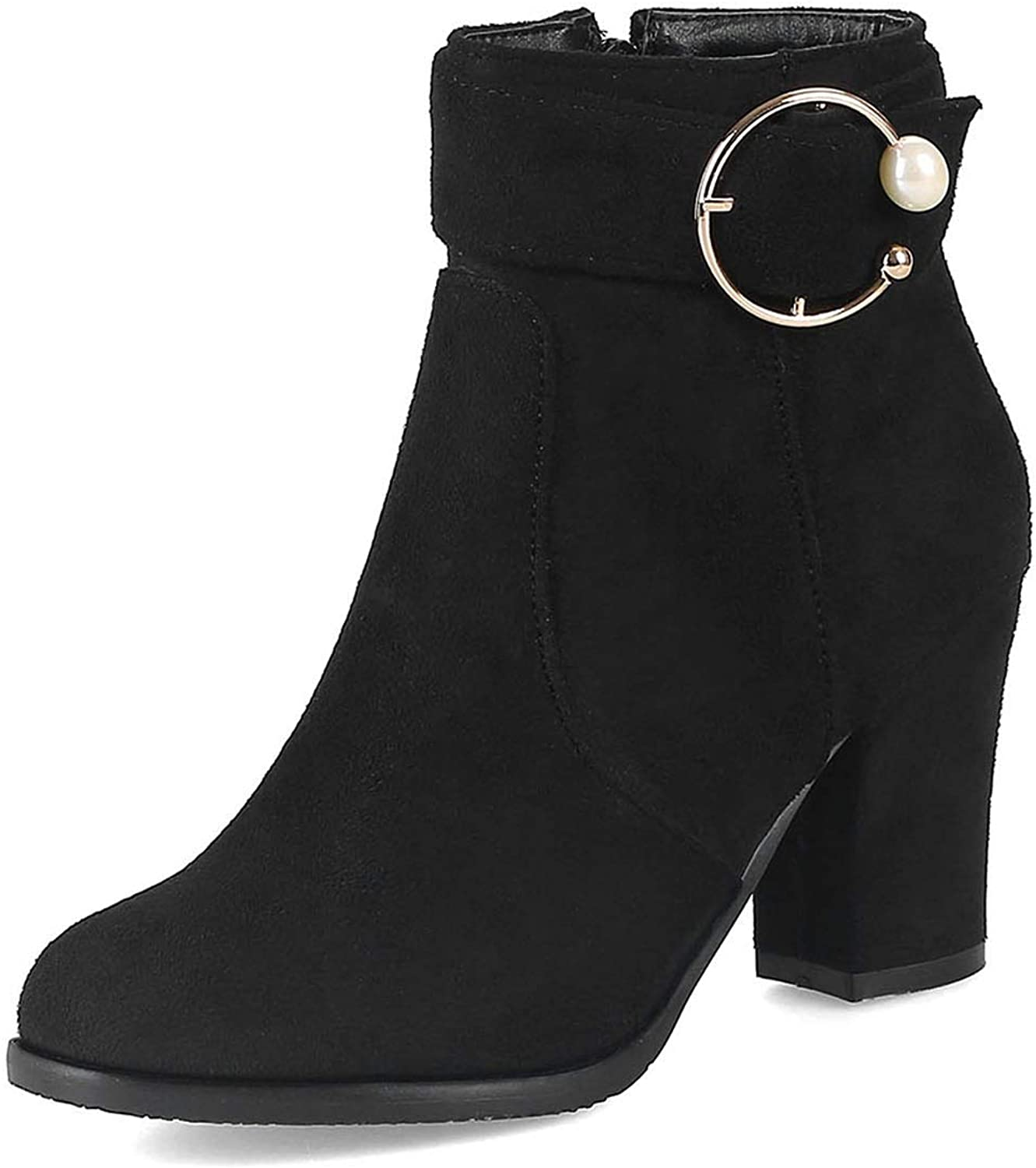 Women's Booties, Thick Heel High Heel Elastic Force Ankle Boots Ladies New Non Slip Side Zipper Fashion Boots (color   Black Thin Velvet, Size   37)