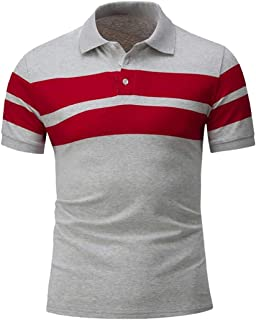 WSPLYSPJY Mens Lapel Button Pullover Stripe SplicingSlim Fit Short Sleeve Tops T Shirt