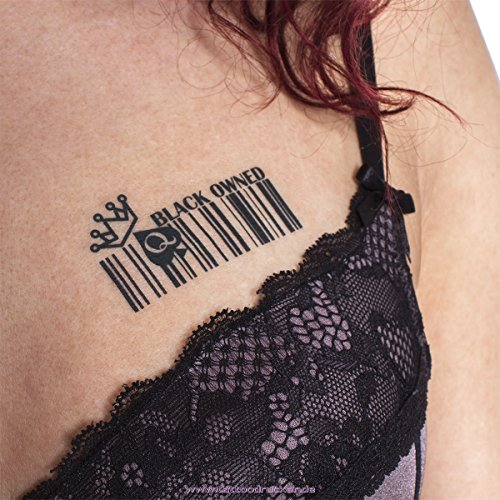 5 x Barcode BLACK OWNED Temporary Tattoos Fetish BBC Hotwife Queen of Spades (5)