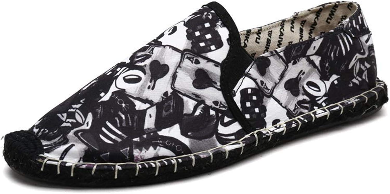 ZHRUI Men Espadrilles for Mens Casual Flats Slip on Canvas Sneakers (color   S161 Black, Size   5.5=39 EU)