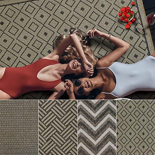 Outdoor Teppich Clyde für Terrasse und Balkon | wetterfester Sommerteppich für Ihren Garten | robustes Flachgewebe für außen und innen | modernes Design | Modell Rockport mit Rauten Muster 160x230 cm
