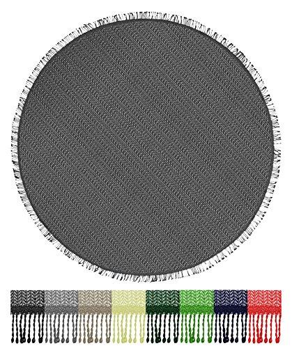 Brandsseller Gartentischdecke Tischdecke - wetterfest und rutschfest für Garten, Balkon und Camping - Rund 160 cm - Farbe: Grau