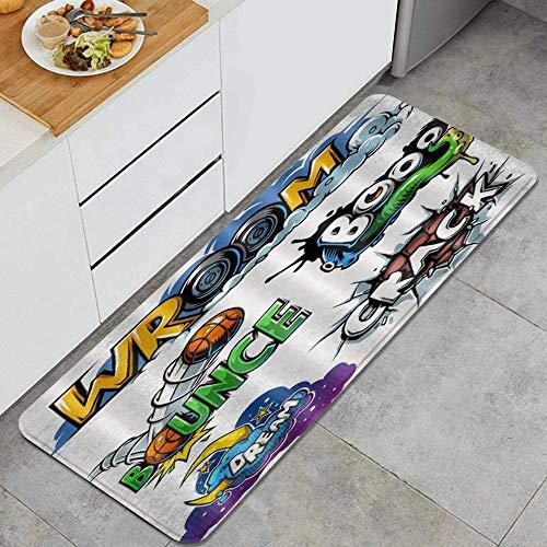 FOURFOOL Alfombra de Cocina,Personalidad Creativa Diversión Fondo Blanco Dibujos Animados Alfabeto inglés Patrón de Baloncesto,Antideslizante Alfombrilla de Goma Alfombra de Baño Alfombrillas Cocina
