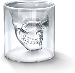 BeBr Crystal Skull Shot Glasses Double Wall Glass Cup, Wine Glasses for man,Cool Beer Cup for Wine Cocktail Vodka,Coffee Mug, Heat-resistant Milk Mug,Creative Home Halloween Party Bar Cup (250ml)