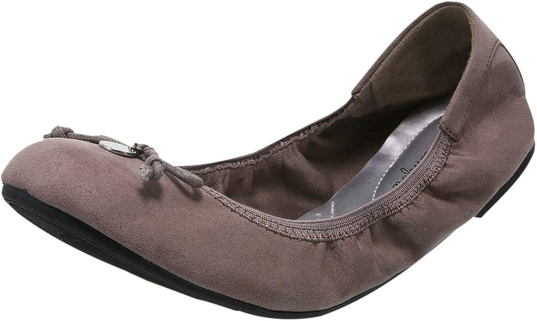 DexFlex Comfort Taupe Suede Women's Caroline String Tie Flat 5.5 Regular