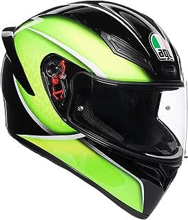 AGV Unisex-Adult Full Face K-1 Qualify Motorcycle Helmet Black/Lime Medium/Small