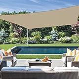 Jneaicn Tende da Sole per Esterno Vela Ombreggiante Colore Sabbia 3×3m Vela da Giardino per Giardino Campeggio Protezione UV(Colore Sabbia)
