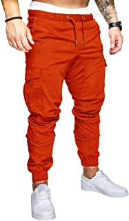 Fansu Men's Chino Jogger Pants, Fit Casual Workout Trousers Tracksuit Bottoms with Multi-Pockets Drawstring Elasticated Re...