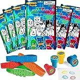 PJ Masks Party Favor Set - 6 Take & Play Coloring Play Packs, 12 Superhero Sayings Bracelets, 12 Super Hero Stampers