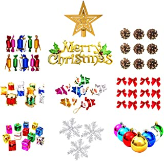 Samoii 74ct Christmas Tree Ornaments Assortment Including Tree Topper Balls Snowflakes Star Pine Cone Miniature Gift Boxes Poinsettia Beads Garlands (Red and Multicolor)