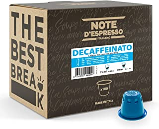 Note d'Espresso - Cápsulas de Café Descafeinado - Compatibles con Afeteras Nespresso - 100 Unidades de 5.6 g