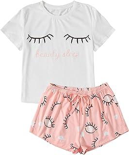 WDIRARA Women's Sleepwear Closed Eyes Print Tee and Shorts Pajama Set Peach Pink XS